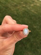 Dainty 1930's 14K Opal and Seed Pearl Halo Ring