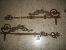 Antique Ornate Art Deco Adjustable Matched Pair Curtain Rods Floral Leaf pattern