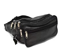 BLACK LEATHER WAIST BAG Large Bum Bag Fanny Pack Money Belt Belly Travel Genuine