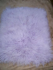 "22 x 26"" PURPLE Soft PASTEL Long Shag Mongolian Lamb Real Wool Leather Fur Hide"