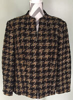 TALBOTS Black Brown Textured Knit Fully Lined Zip Up Blazer Jacket Size 12W Wide