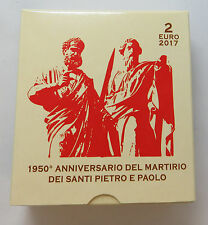 VATIKAN VATICAN 2 EURO 2017 1950 JAHRE PETRUS PAULUS ORIGINAL PP BOX COA
