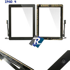 TOUCH SCREEN vetro per Apple iPad 4 Nero A1458 A1459 A1460 + Tasto home adesivi