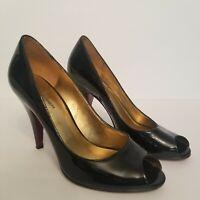 Marc Fisher Womens Size 7 Black Patent Leather Sexy Dressy Peep Toe Pump Heels