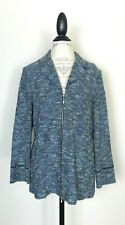 St John Collection Blue Tweed Zippered Blazer Suit Jacket 16 EUC
