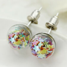 Wholesale Women's Star Chips Inside Clear Glass Ball Ear Studs Earrings Pin CA
