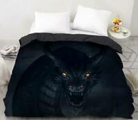3D Dark Dragon Bright Eyes KEP6890 Bed Pillowcases Quilt Duvet Cover Kay