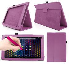 "Purple PU Leather Case For Archos 101 Neon 10.1 "" Tablet + Pink Stylus Pen!"