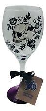 Gift for girls who like skulls, purple base skull Painted Wine Glass Black Roses