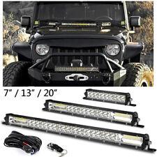Slim Dual Row LED Light Bar Offroad Flood Spot Switch Remote Wiring ATV 4WD SUV