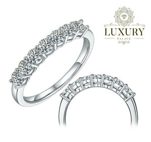 Moissanite Wedding Eternity Band Ring Round Cut Solid 925 Sterling Silver Rings