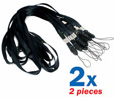 Neck Lanyard Camera Strap Phone Mp3 Id Cell Holder Card Usb Mobile Keys Black x2
