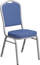 Crown Back Stacking Banquet Chair in Blue Fabric with Silver Frame