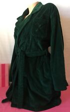 HTF Victoria's Secret Sz L Dark Green Short Robe Thick Terry Cloth 100% Cotton!