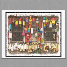 6 Lobster Buoys Maine Coast Blank Art Note Greeting Cards