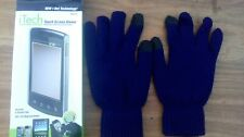Men's Touch Screen Gloves DARK BLUE for use with mobile phones, iPad, tablet etc