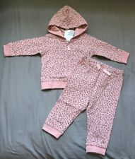 Baby Girl 4-6 Month H&M Pink Leopard Animal Print Zip Up Hoodie & Jogger Pants