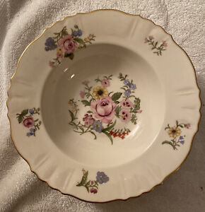 4 Syracuse Portland Federal Shape China Rim Soup Bowls Floral Gold Trim. A+