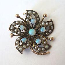 Antique Victorian Edwardian 10k Gold Seed Pearl Opal Flower Pendant Brooch Pin