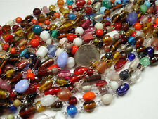 "10 STRANDS ASSORTED GLASS BEADS LOT 36"" STRANDS  (072520171)"