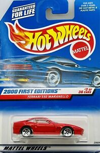 2000 Hot Wheels First Editions #2 of 36 Red Ferrari 550 Maranello Collector #062