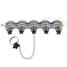 Bracelet femme réglable Dentelle NOIRE + Chaîne + Bague fimo fleur noir