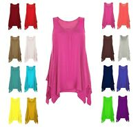 Womens Top Gathered Ladies Plus Size 18 20 22 24 Vest Hem Flared Swing_Hnky