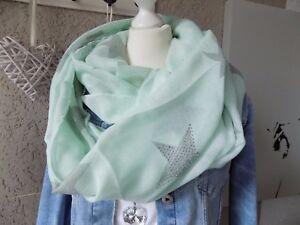 Sterne hellgrün XL Trend Fashion Schal Tuch Scarf sweet Style Schal Stola (797)