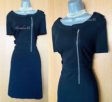 Karen Millen UK 16 Black Stitches Detail Front Zip Casual Formal Office Dress 44