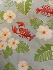 Tommy Hilfiger Home Blue Red White Lobster Floral Flat Sheet Twin Nautical