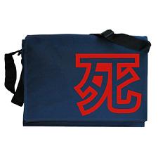 Death Japanese Kanji Symbol Font Navy Blue Messenger Shoulder Bag