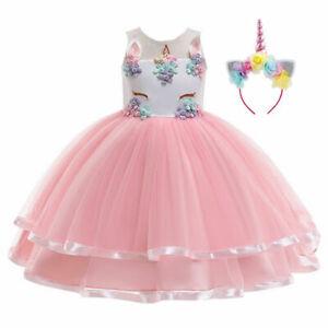 2021 Girls Unicorn Costume Party Fancy Dress Cosplay Pink Tutu Flower Headband