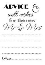 12 Bride & Groom Advice cards wedding guest book A6