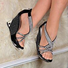 Ladies Strappy Platform Wedges T-bar Sandals Diamante Sparkly Party Wedding size