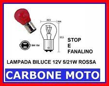1 LAMPADA  2 FILAMENTI 12V 5/21W BAY15D COLORE ROSSO - STOP E FANALINO