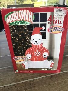 Rare Gemmy 4' GIANT Polar Bear In Sweater Christmas Lighted Airblown Inflatable
