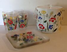 H.J. Stotter Mid Century Plastic Floral Patio Set Plates Glasses Ice Bucket VTG
