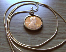 """1978 USA Copper Penny Gold Filled Pendant on a 24"""" 18K Gold Filled Snake Chain"""