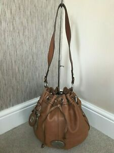 FOSSIL TAN LEATHER DRAWSTRING BUCKET BAG
