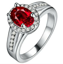 New Fashion Women Red Gemstone Crystal Silver Wedding Ring Jewelry Size 6