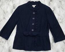 Ann Taylor Loft Navy 3/4 Sleeve Button Linen Cotton Women's Blazer Jacket 12