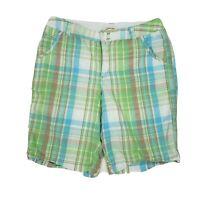 ST JOHNS BAY Green Blue Plaid Bermuda Shorts Womens Size 14