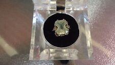 Vintage Estate Sale Find 10K White Gold Pale Green Citrine & White Sapphire Ring