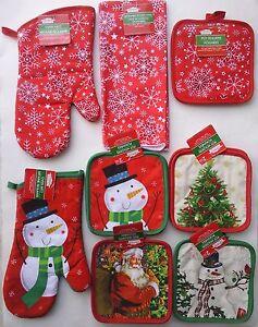 CHRISTMAS LINEN Towel Oven Mitt Pot Holder SELECT Santa Snowman Snowflakes Tree