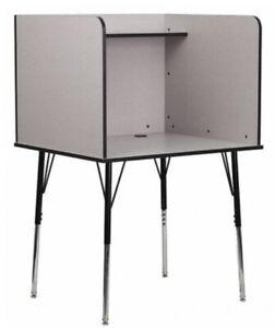 Flash Furniture Complete Study Carrel in Gray Finish - MT-M6221-GREY-GG