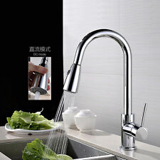 Pull Out Spray Kitchen Sink Faucet Chrome Mixer Tap Brass 1 Handle 360° Swivel