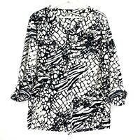 Suzanne Grae Women's Size 14 Black White Long Sleeve Pocket Button Up Blouse Top