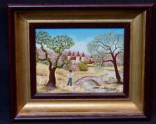 Peinture Tableau Naïf huile sur toile signé BUBNIC 27cm pont  saule déco enfant