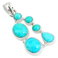 13.05cts Natural Green Kingman Turquoise 925 Sterling Silver Pendant P5072