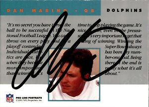 Dan Marino Signed 1991 Pro Line Portraits Card w/Stamp Autographed Dolphins